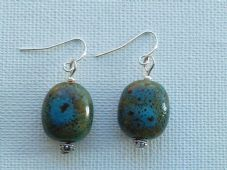 Small Blue Ceramic Earrings